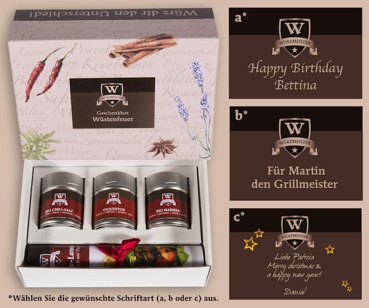 Bild personalisierte Geschenkebox mit verschiedenen Schriftarten die zur Auswahl stehen