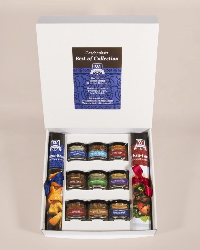 Bild mit der Geschenkbox Best of Collection. Sie beinhaltet 9 Minis beliebtesten Gewürze der Würzmeister-Kollektion. Dazu zwei passende Rezepte.