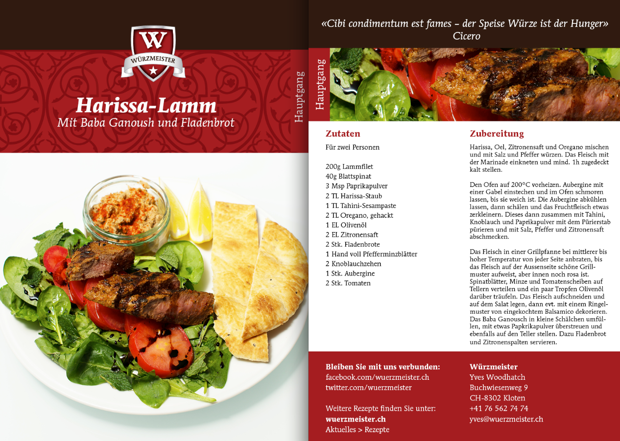 Bild zum Rezept Harissa-Lamm mit Baba Ganoush und Fladenbrot.